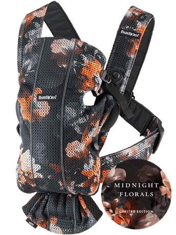 Baby Carrier Mini Black Midnight Florals Mesh - BABYBJÖRN