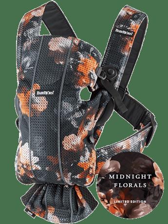 Mochila Porta Bebé Mini Negro Flores de Medianoche Mesh - BABYBJÖRN