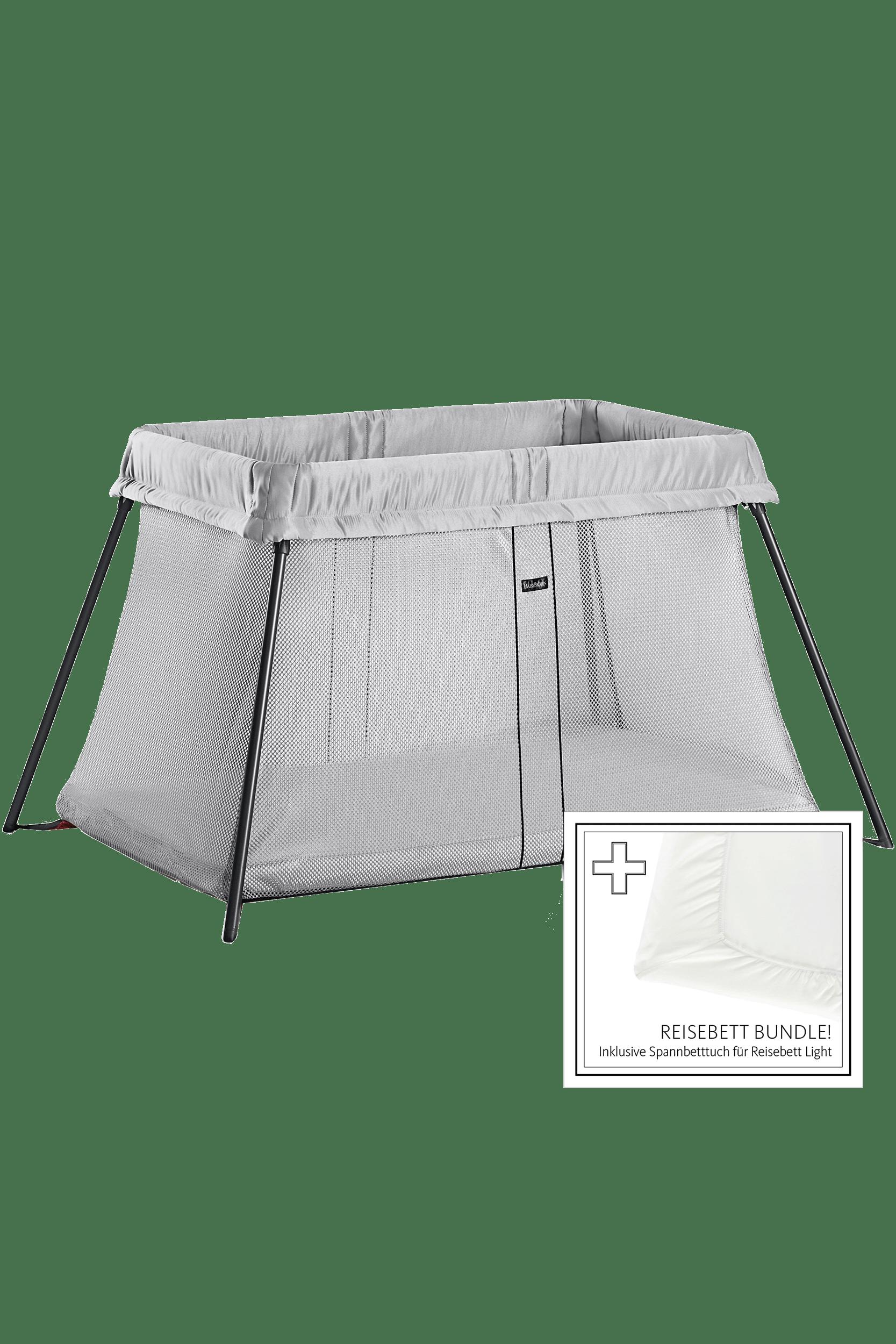 BABYBJÖRN Reisebett Light Silber mit Spannbettuch