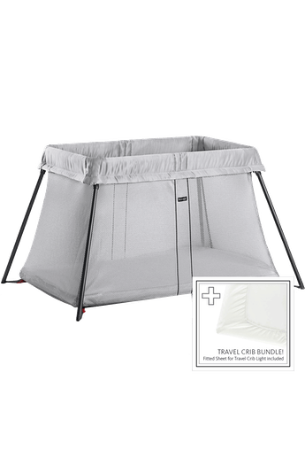 Travel Cot Light Silver Bundle with Sheet - BABYBJÖRN