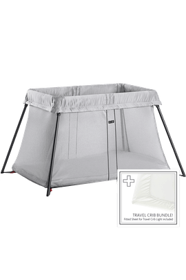 Travel Cot Light Silver Bundle with Sheet - BABYBJÖRN