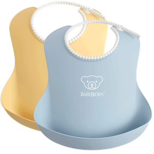 Baby Bib 2pkt Powder Yellow Blue - BABYBJÖRN