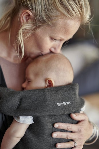 Baby Carrier Mini in Charcoal grey soft 3D Jersey - BABYBJÖRN