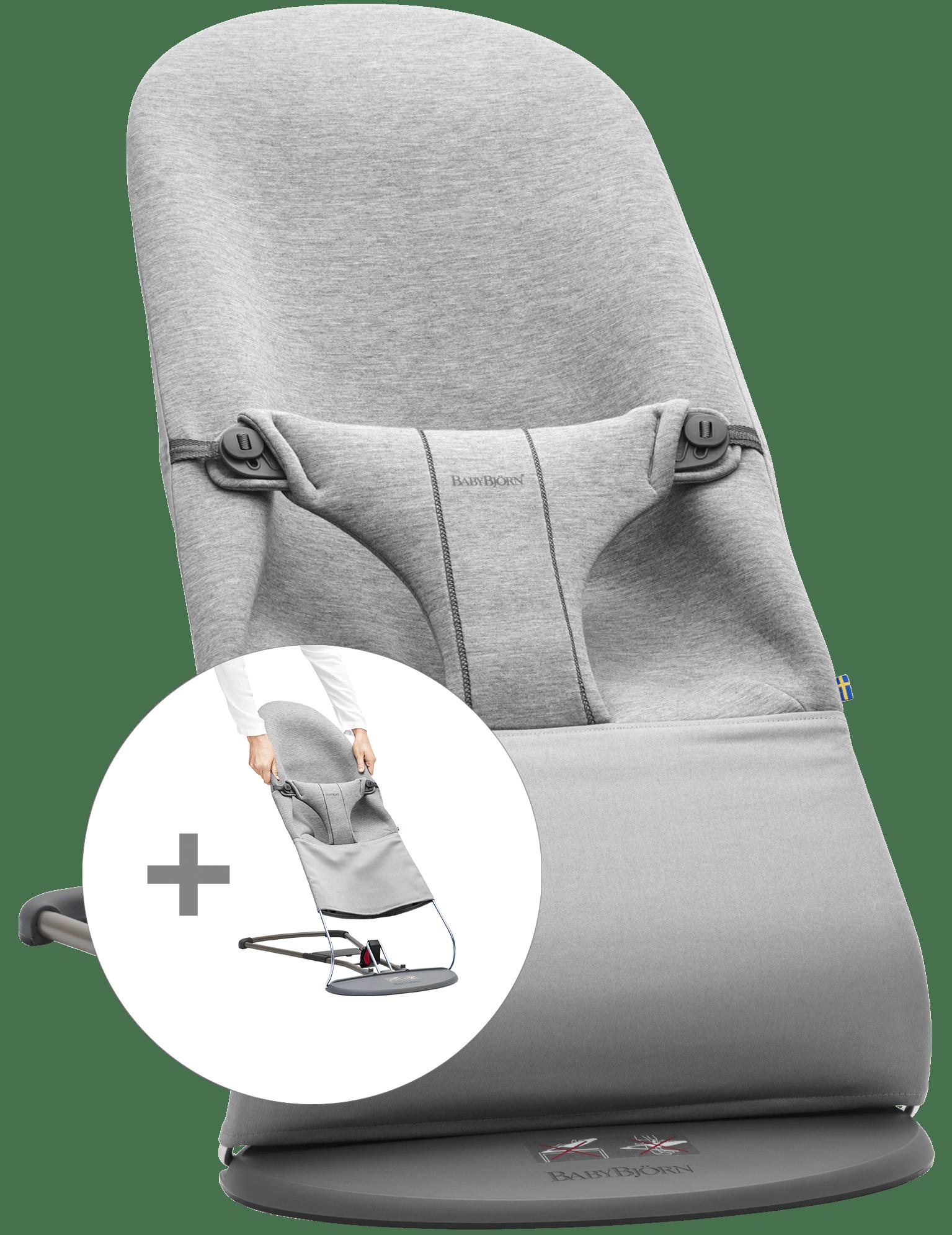 BABYBJÖRN Babysitter med extra tygsits - Ljusgrå, 3D Jersey