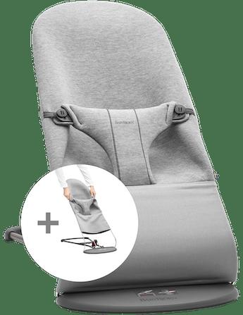 Babysitter Bliss med extra tygsits i ljusgrå mjuk 3D Jersey - BABYBJÖRN