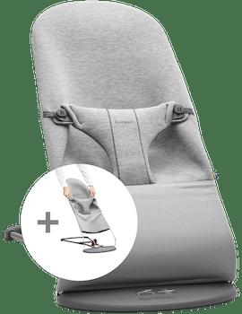 Babywippe mit Zusätzlichem Stoffsitz in hellgrauem 3D Jersey - BABYBJÖRN