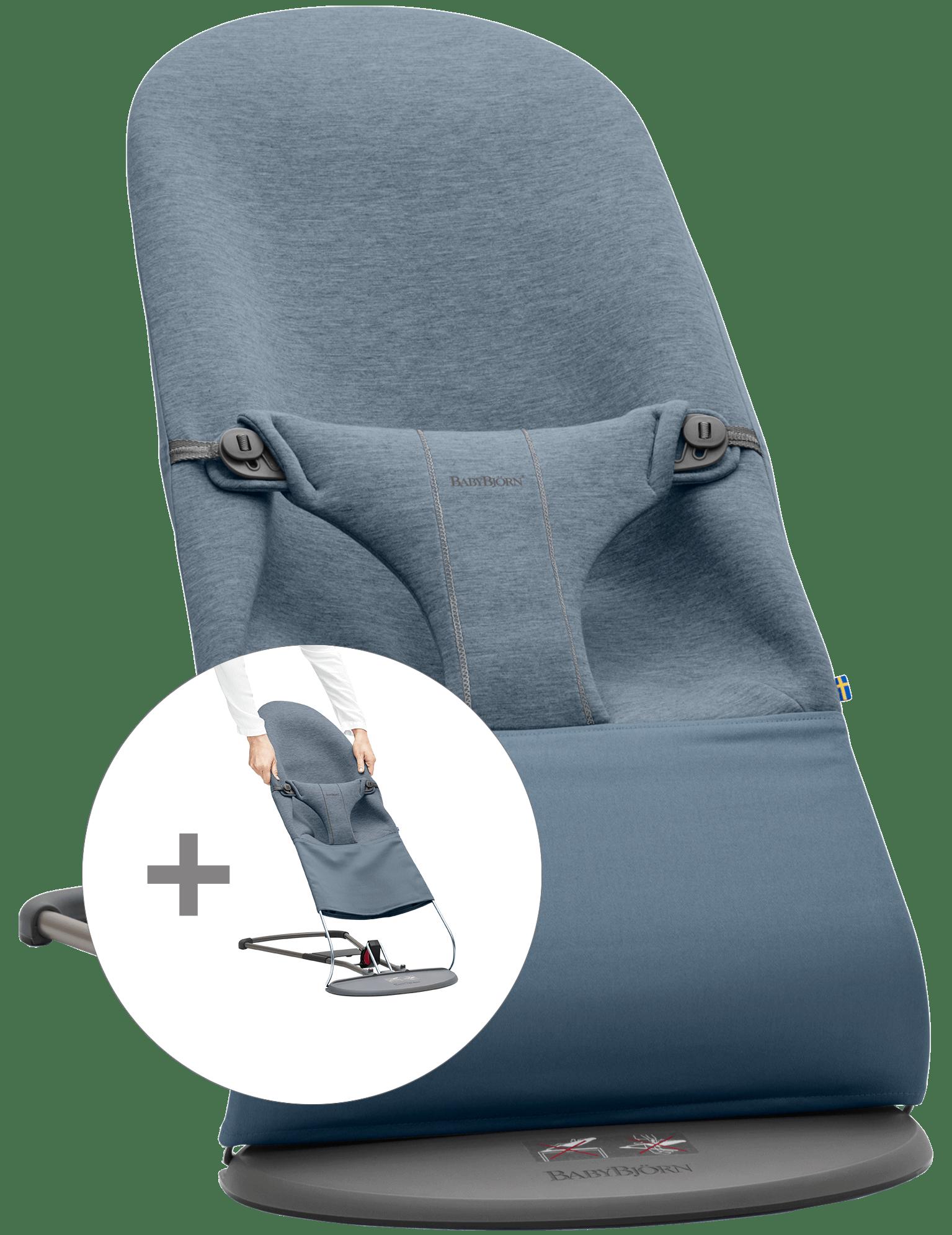 BABYBJÖRN Babywippe mit zusätzlichem Stoffsitz - Taubenblau, 3D-Jersey