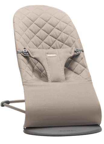 Bouncer Bliss in Sand grey soft quilted cotton with natural rocking without batteries