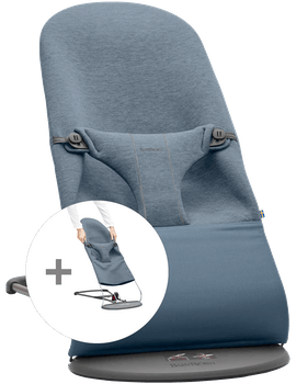 Bouncer Bundle with Extra Fabric Seat in Dove blue soft 3D Jersey - BABYBJÖRN