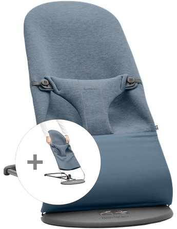 Bouncer Bundle with Extra Fabric Seat in Dove blue supersoft 3D Jersey - BABYBJÖRN