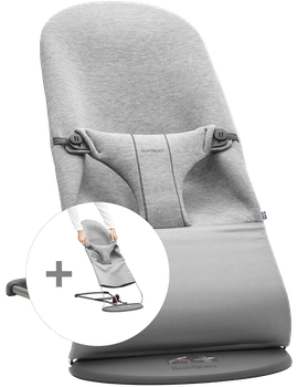 Bouncer Bundle with Extra Fabric Seat in Light grey soft 3D Jersey - BABYBJÖRN