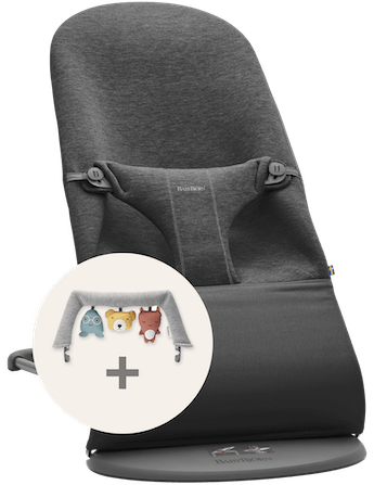 Bouncer Bliss Charcoal grey 3D Jersey bundle with Toy Soft Friends - BABYBJÖRN