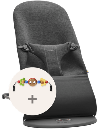 Hamaca Bliss Gris Carbón 3D Jersey con juguete ojitos traviesos - BABYBJÖRN