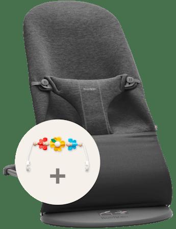 Transat Bliss 3D Jersey Gris Charbon avec Jouet Amis Volants - BABYBJÖRN
