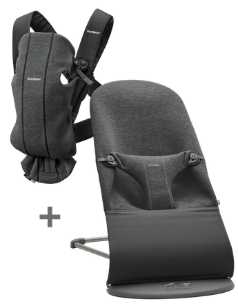 Startkit with Baby Carrier Mini and Bouncer Bliss in Charcoal Grey 3D Jersey - BABYBJÖRN