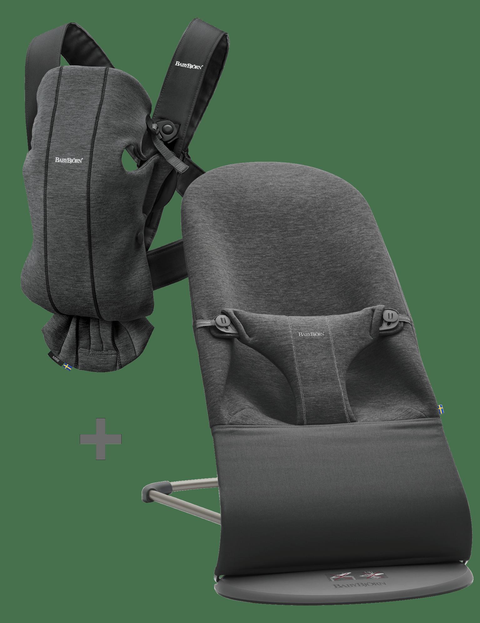 BABYBJÖRN Basic Startkit för nyfödda - Svartgrå, 3D Jersey
