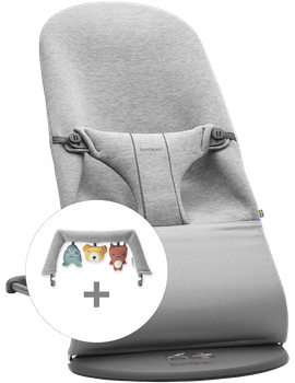 Bouncer Bliss Light grey in 3d Jersey with toy soft friends