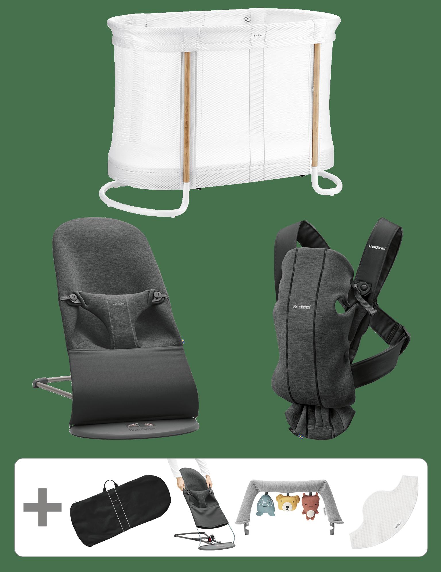 BABYBJÖRN Startpaket Groß für Neugeborene - Schwarzgrau, 3D-Jersey