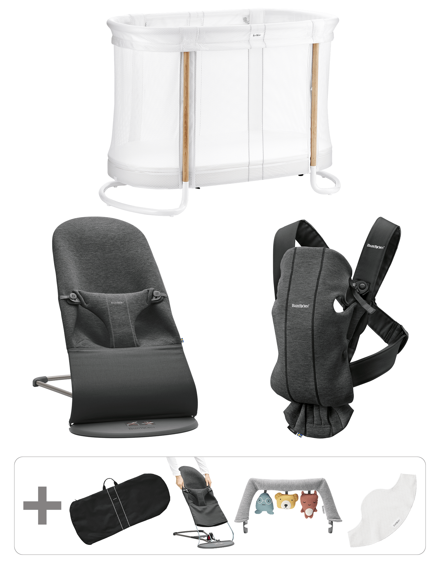 BABYBJÖRN Premium Startkit för nyfödda - Svartgrå, 3D Jersey