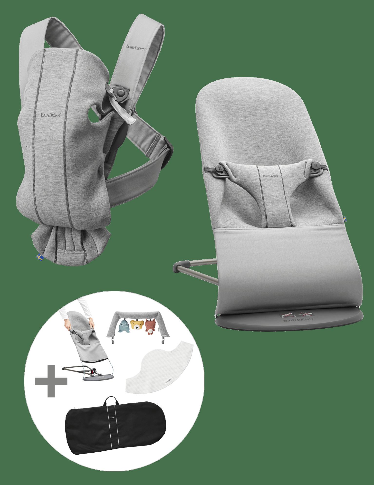BABYBJÖRN Startpaket Mittel für Neugeborene - Hellgrau, 3D-Jersey