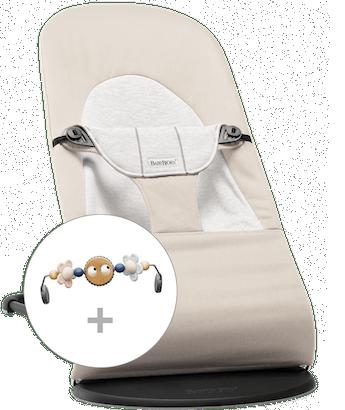 Babywippe Balance Soft Beige/Grau Cotton/Jersey mit Spielzeug Fröhliche Augen in Pastellfarben - BABYBJÖRN