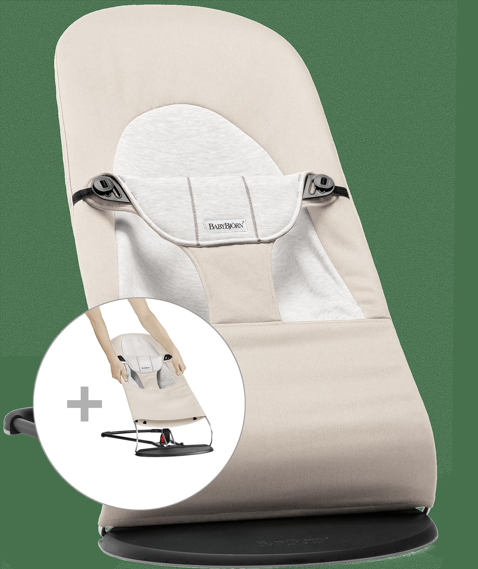 BABYBJÖRN Babywippe mit zusätzlichem Stoffsitz - Beige/Grau, Baumwolle/Jersey