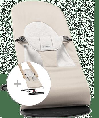Babywippe Balance Soft mit zusätzlichem Stoffsitz in Beige/Grau Cotton-Jersey - BABYBJÖRN