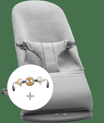 Babywippe Bliss Hellgrau 3D Jersey mit Spielzeug Fröhliche Augen Pastell - BABYBJÖRN