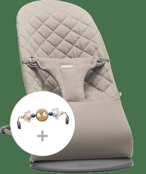 Babywippe Bliss Sandgrau Cotton mit Spielzeug Fröhliche Augen in Pastell - BABYBJÖRN