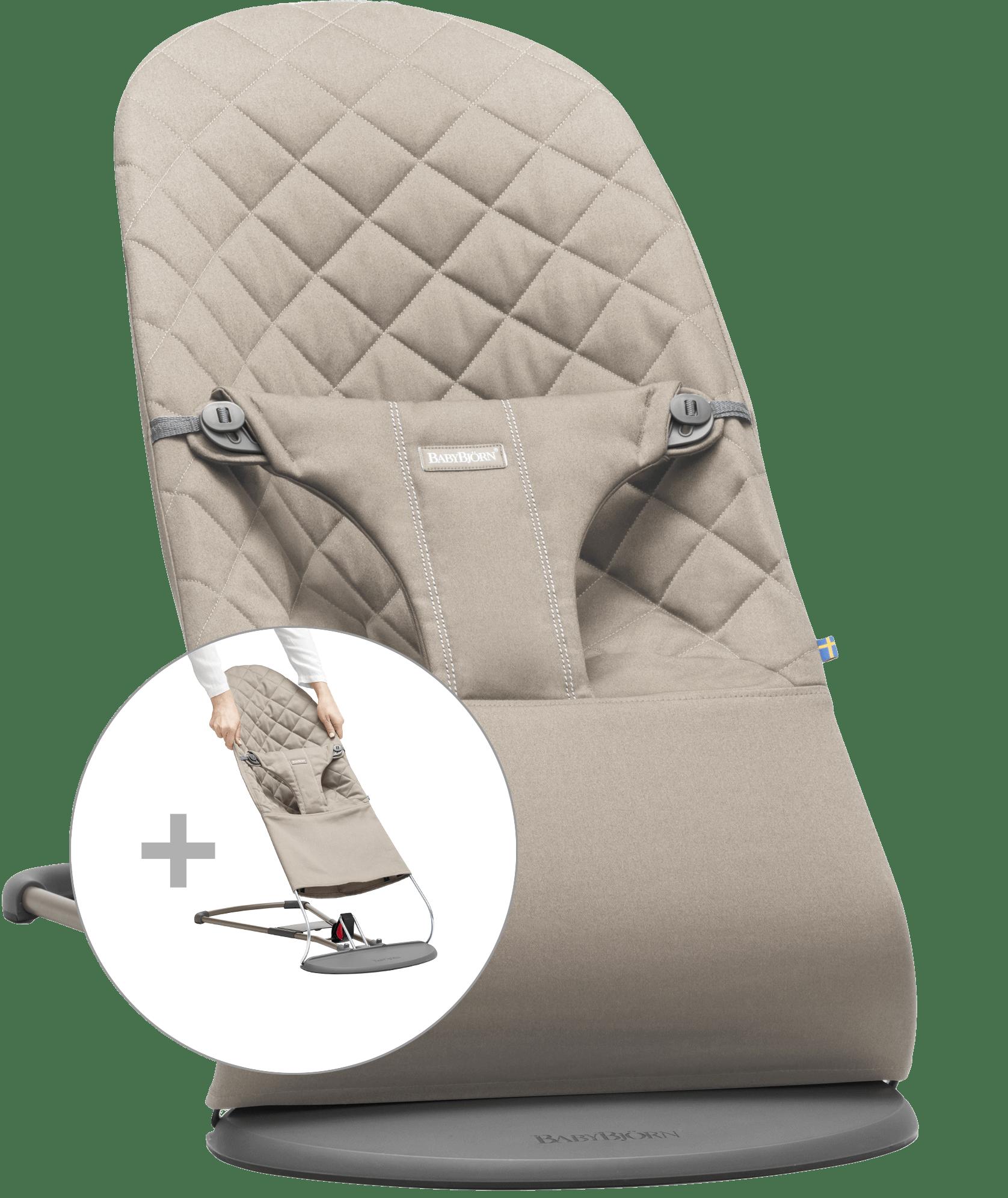 BABYBJÖRN Babywippe mit zusätzlichem Stoffsitz - Sandgrau, Baumwolle