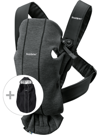 Baby Carrier Mini Charcoal in 3D Jersey, bundle with cover - BABYBJÖRN