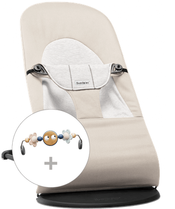Bouncer Balance Soft in Beige-Grey Cotton/Jersey with toy Googly Eyes in pastel colours - BABYBJÖRN