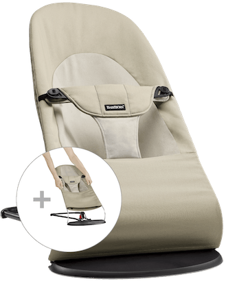 Bouncer Balance Soft with Extra Fabric Seat in Khaki/Beige Cotton - BABYBJÖRN
