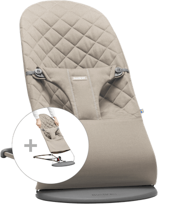 Bouncer Bliss with Extra Fabric Seat in Sand grey Cotton - BABYBJÖRN