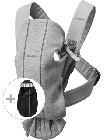 Bärsele Mini i Ljusgrå 3D Jersey kombinerat med Överdrag som är vindtätt och mjukt och mysigt - BABYBJÖRN