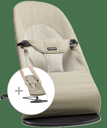 Babysitter Balance Soft med extra tygsits Kaki/Beige Cotton - BABYBJÖRN