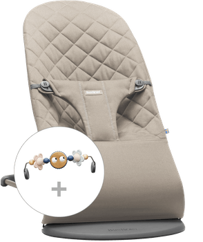 Babysitter Bliss i Sandgrå Cotton med leksak Busiga Ögon i Pastell - BABYBJÖRN