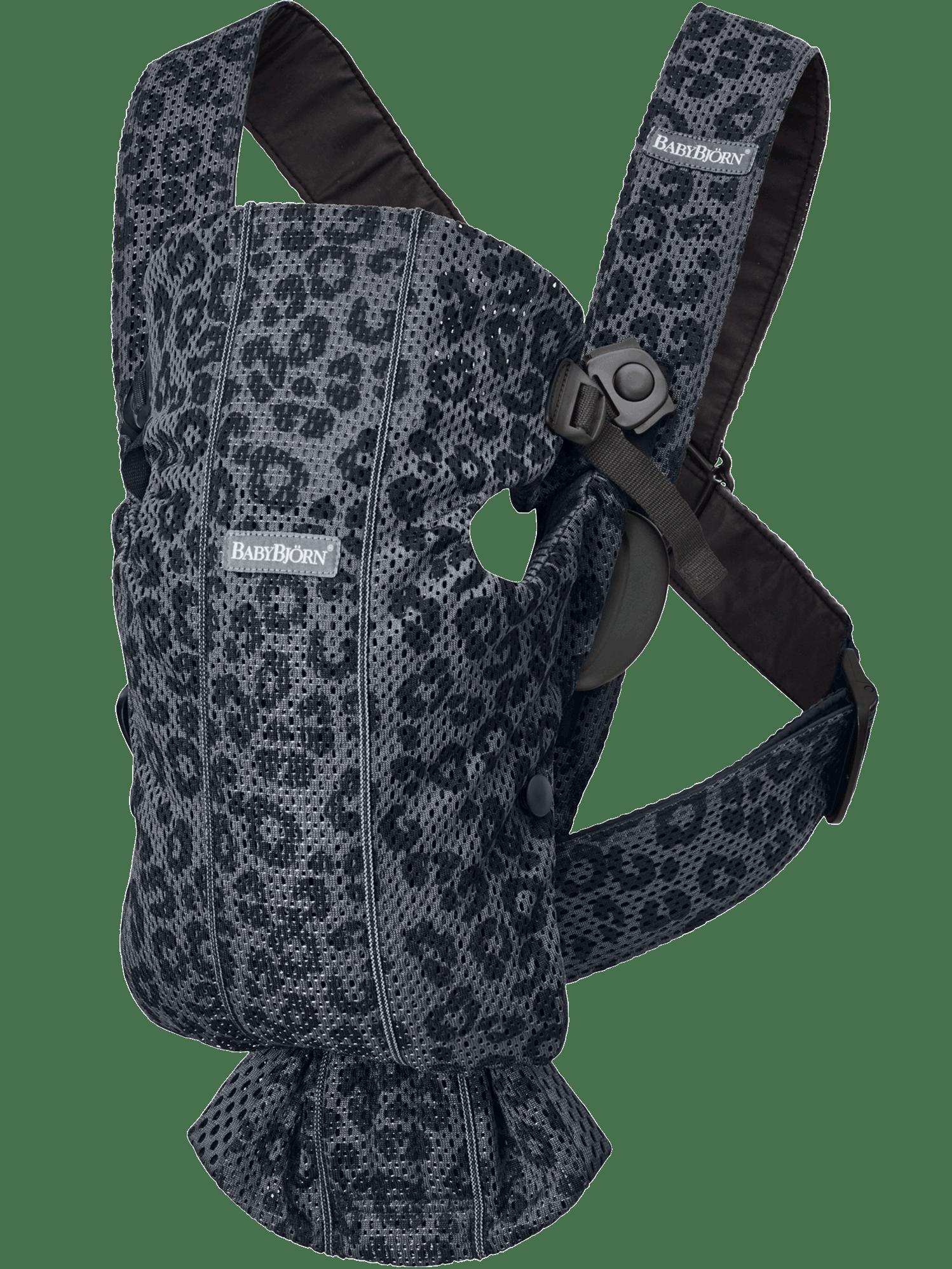 BABYBJÖRN Babytrage Mini - Anthrazitgrau/Leopard, 3D-Netzstoff