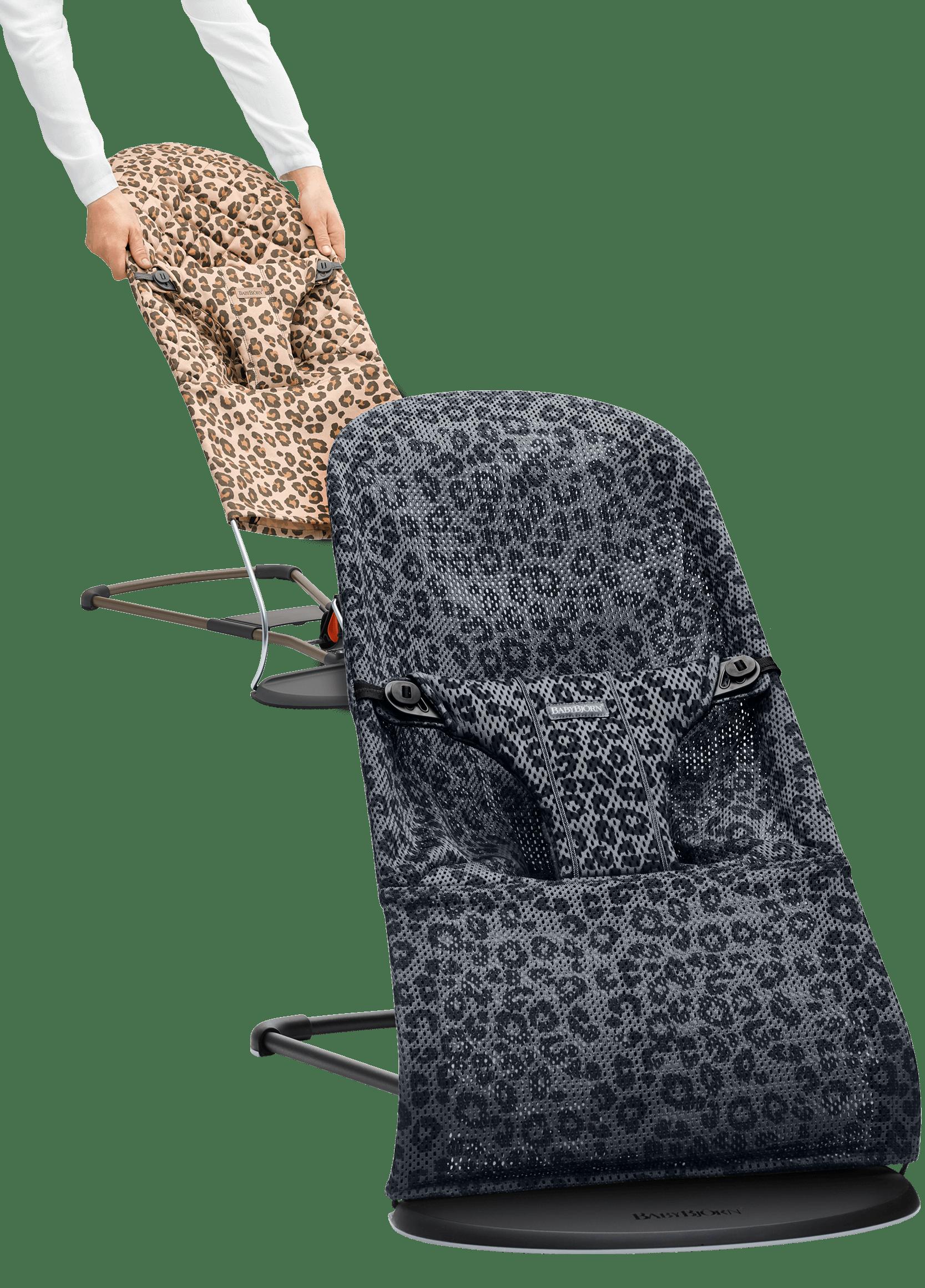 BABYBJÖRN Babywippe mit zusätzlichem Stoffsitz - Leopard Bundle, Netzstoff/Baumwolle