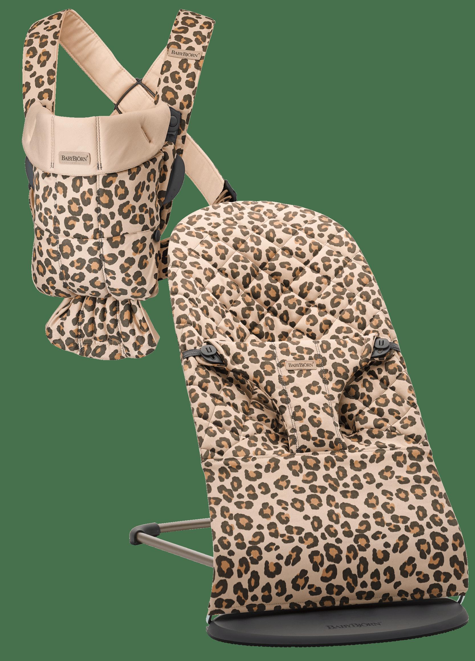 BABYBJÖRN Startpaket Klein für Neugeborene - Beige/Leopard, Baumwolle