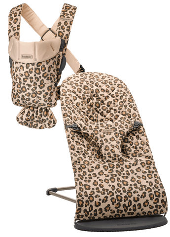 Babywippe Bliss und Babytrage Mini in Beige/Leopard cotton