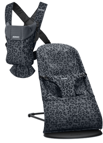 Bouncer Bliss in Anthracite Leopard Mesh and Baby Carrier Mini in 3D Mesh- basic starter kit for your newborn
