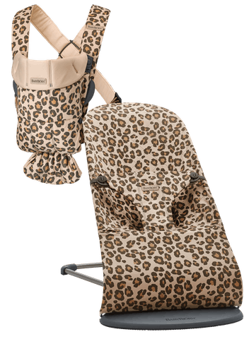 Baby Carrier Mini and Bouncer Bliss in a starter kit Leopard Cotton bundle - BABYBJÖRN