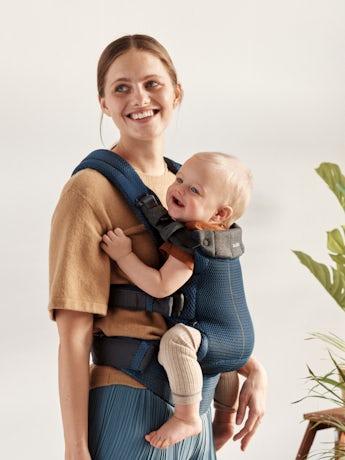 Babytrage Harmony 0 - 3 Jahre Marineblau in 3D Netzstoff Babytrage mit gepolsterter Rückenstütze und ergonomischem Design