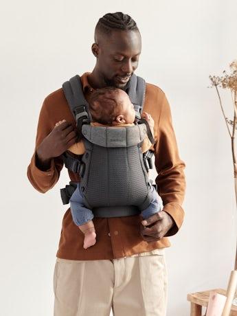 Babytrage Harmony 0 - 3 Jahre Anthrazitgrau in 3D Netzstoff Babytrage mit gepolsterter Rückenstütze und ergonomischem Design