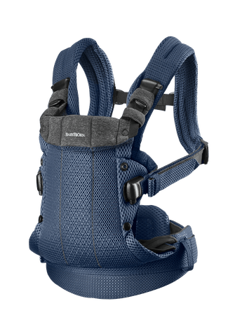 Baby Carrier Harmony Navy Blue 3D Mesh with padded back support and an ergonomic design.