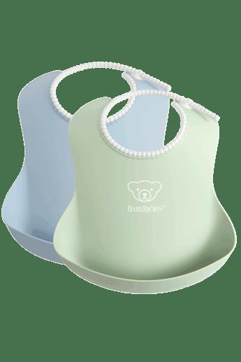 2-pack Baby Bib in Powder Green - Powder Blue in BPA-free plastic