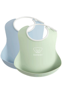 Baby Bib, 2-pack, Powder green / Powder blue, with deep spill pocket to catch any mess - BABYBJÖRN