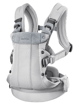 Baby Carrier Harmony in Silver 3D Mesh with padded back support and an ergonomic design.