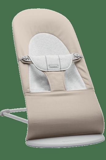 Babysitter Balance Soft i Beige/grå bomullsjersey och ljusgrå ram